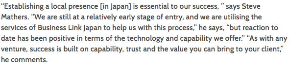 Business link Japan client on Export To Japan